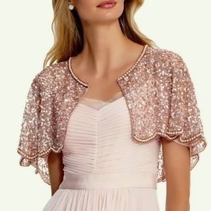 NWT ADRIANNA PAPELL SEQUINED & BEADED EVENING CAPE